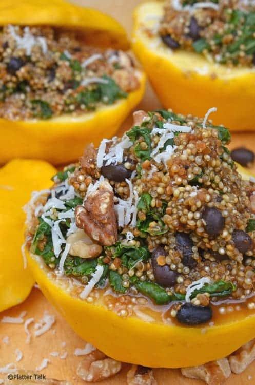 A close up of quinoa stuffed squash.