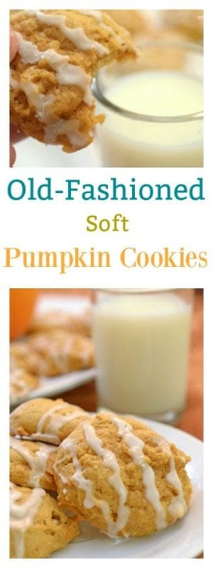 These Old-Fashioned Soft Pumpkin Cookies are simple to make and loved by all. Have a glass of cold milk ready!