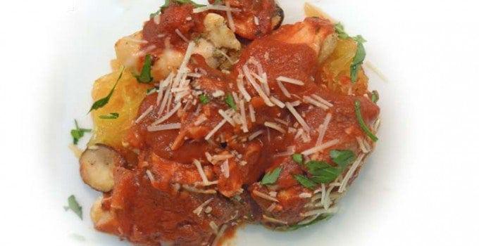 Baked Spaghetti Squash & Chicken Parmesana