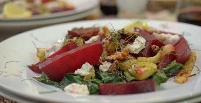 WIlted Red Chard with Fennel and Roasted Beets