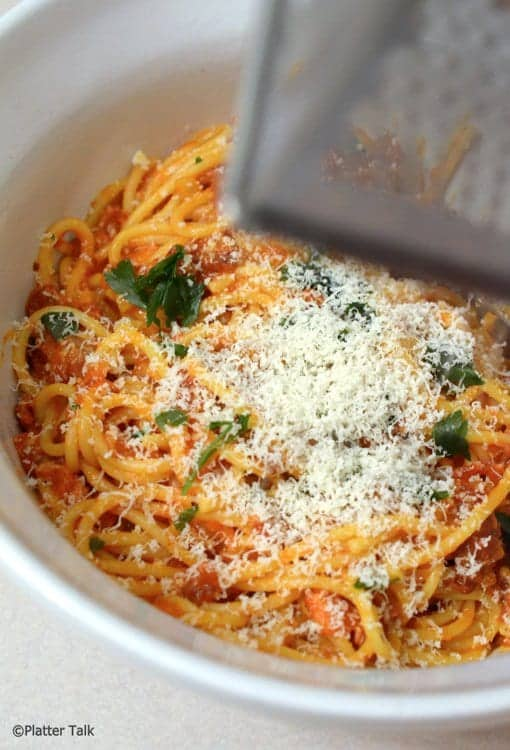 A close up of a plate of food, with Pasta