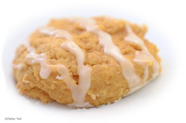 Soft pumpkin cookied with vanilla icing.