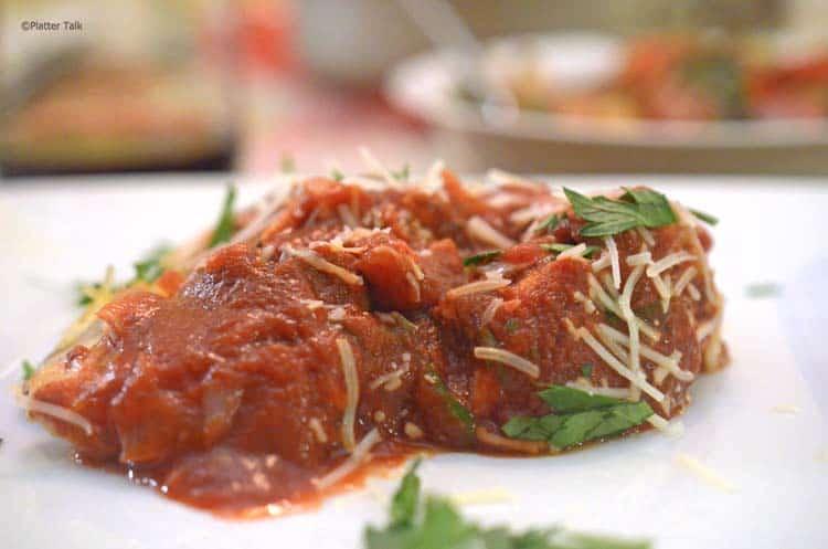 spaghetti squash and chicken on platter talk