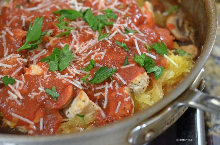 a pan of baked spaghetti squash and chicken.