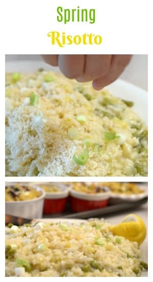 This Spring Risotto is one of many different types of risotto and features the colors of spring, thanks to a combination of asparagus, peas, and fesh chives. These are combined with some fresh lemon juice and savory Parmesan cheese, all making for a delicious green risotto dish that you wil love.