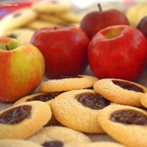 A pile of fruit and cookies
