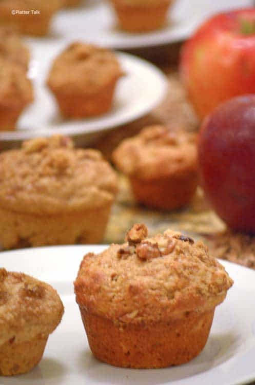 whole wheat apple muffins on platter talk