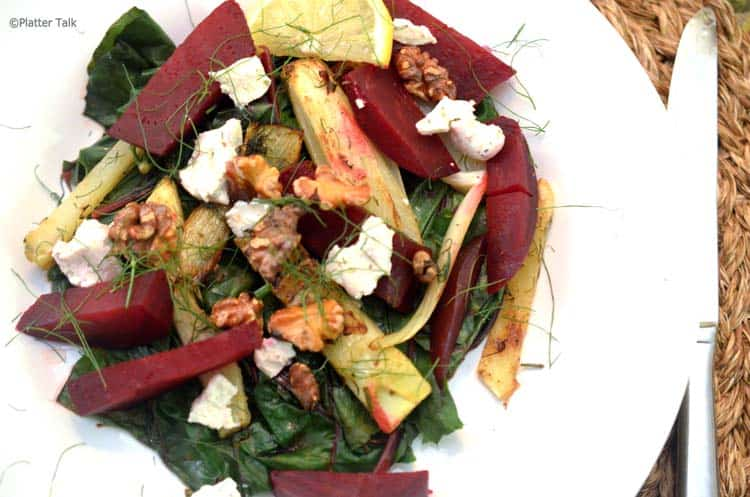 A plate of salad, with Chard