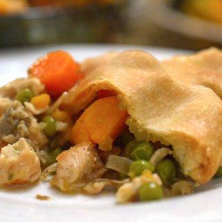 A close up of pot pie