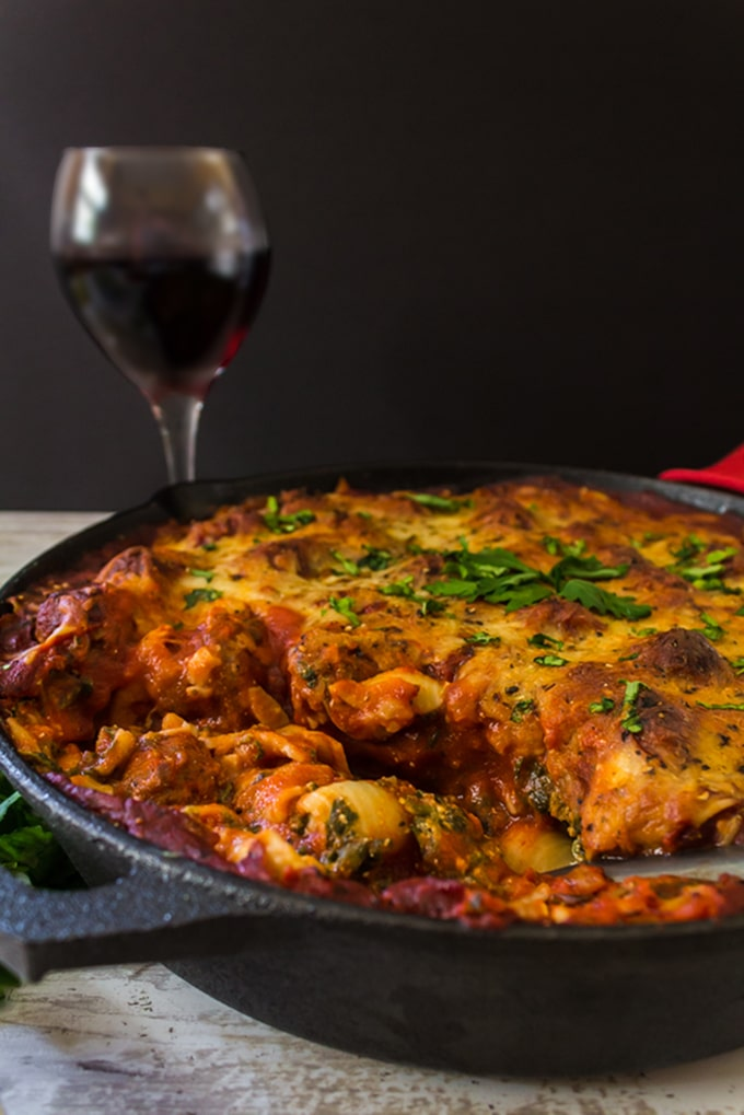 Skillet Lasagna and a glass of red wine.