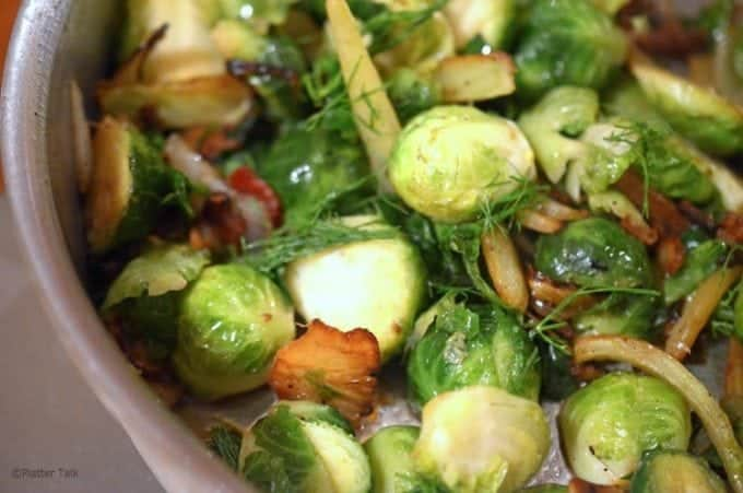 Brussels sprouts sauteed with fennel on your stove top.