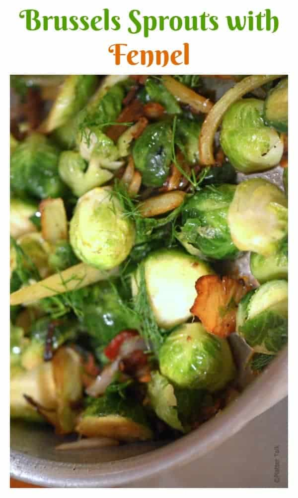 A close up of food, with Fennel and Brussels sprout