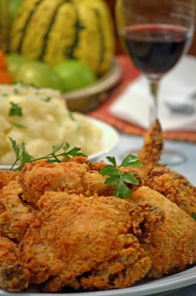 Buttermilk chicken with mashed potatoes.