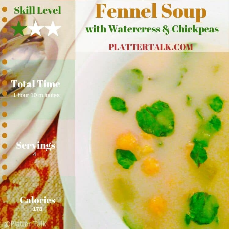 Bowl of fennel soup garnished with watercress and and chickpeas, with recipe information.