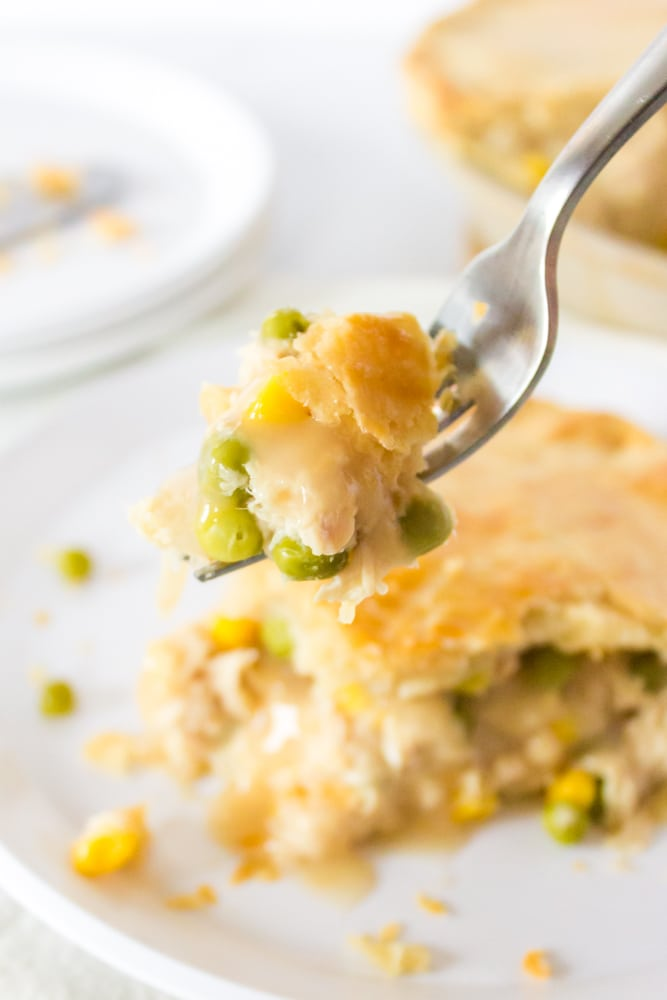 Forkful of homemade turkey pot pie.