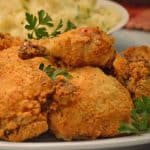 oven-fried chicken recipe on platter talk food blog.