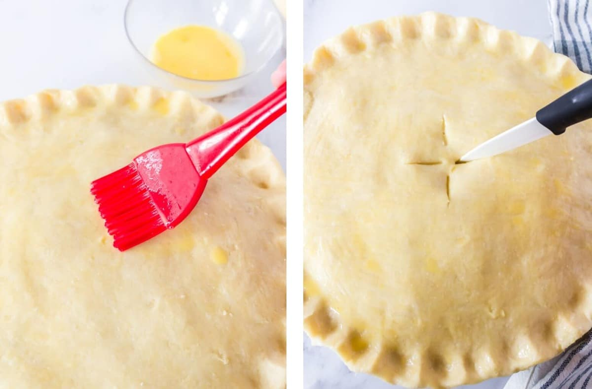 A pastry brush applying an egg wash to a pie crust