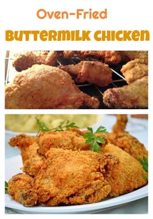 Oven Fried Buttermilk Chicken Recipe starts in a hot skillet and finishes directly on the rack of your hot oven.