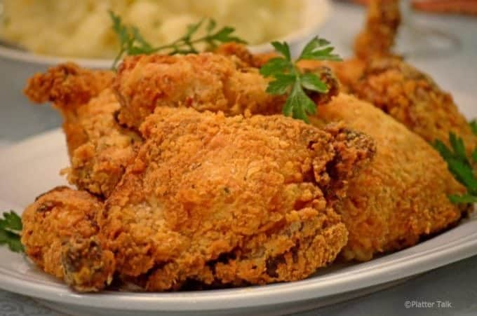 Serving platter of buttermilk chicken.