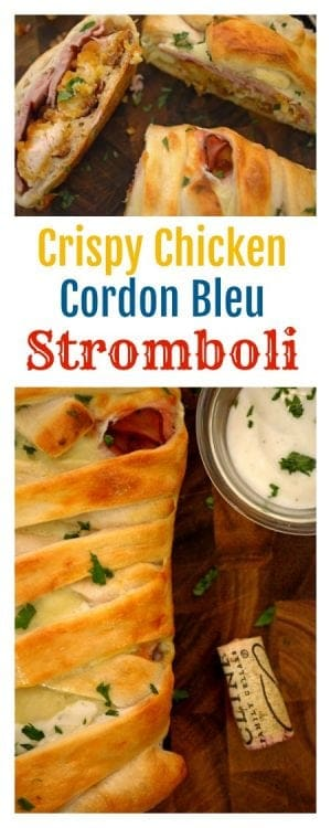 Crispy Chicken Cordon Bleu Stromboli is a simple yet decadent recipe that is suitable for a game day get-together of a family meal, any night of the week.