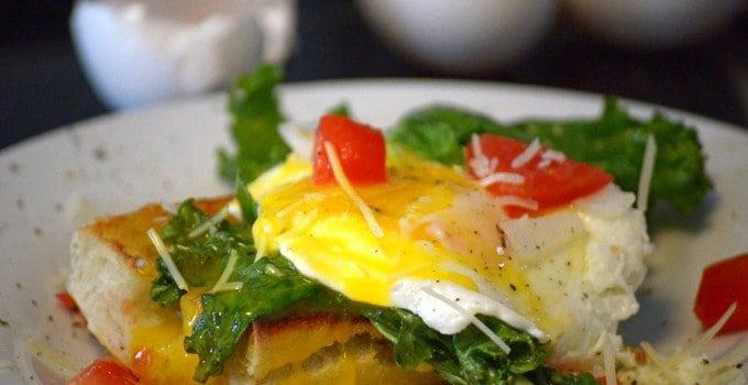 Eggs and Kale Bruschetta