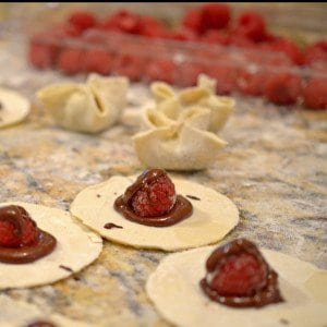 Puffed Chocolate Raspberry Wontons