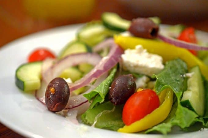 Salad with Homemade Greek Salad Dressing