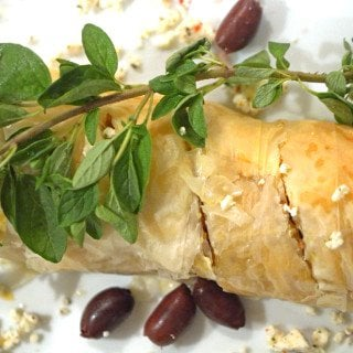 Greek Chicken and Rice in Fillo Dough on Platter Talk