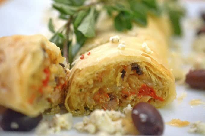 Greek Chicken and Rice in Fillo Dough from Platter Talk