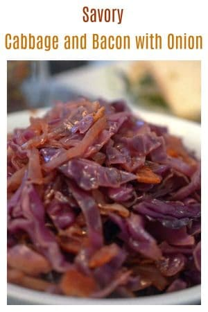 Savory Cabbage and Bacon with Onion from Platter Talk is a simple and savory side dish that is full of flavor. Make this recipe for the family or for guests!