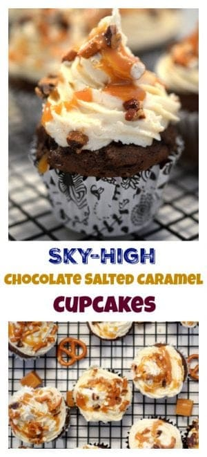 Sky-High Chocolate Salted Caramel Cupcakes from Platter Talk are made from a box of devils food cake and an easy homemade dulce de leche (caramelized sweetened condensed milk.)