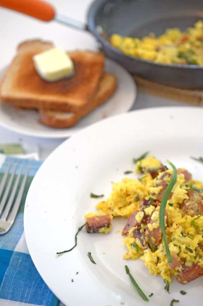 Green Eggs and Ham (Ham and Egg Scramble with Chives)