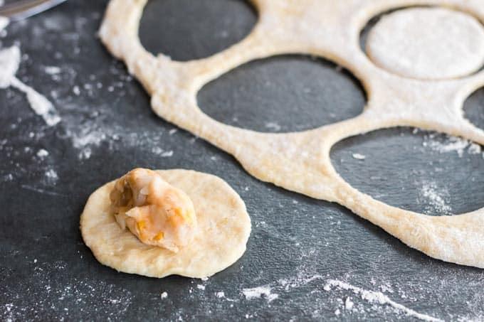 Pierogi filling on pierogi dough.