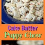 Cake Batter Puppy Chow is a great treat and also a good way to get your kids in the kitchen. Good luck keeping your hands out of the goody bowl though!
