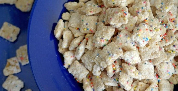 Cake Batter Puppy Chow + Kids in the Kitchen