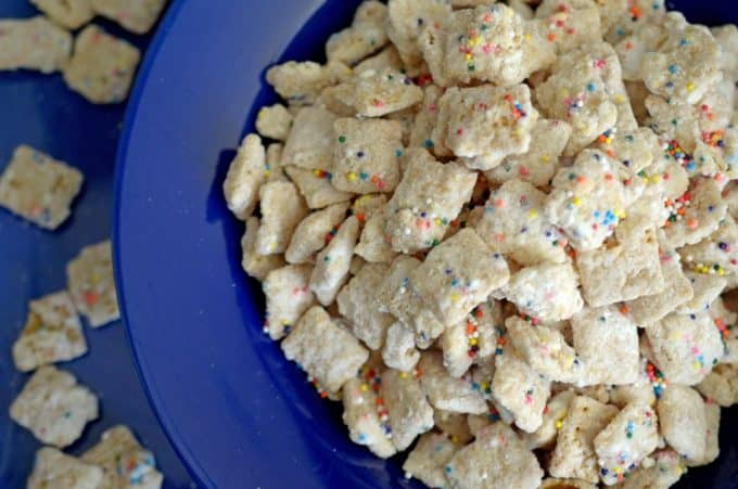 Cake Batter Puppy Chow from Platter Talk