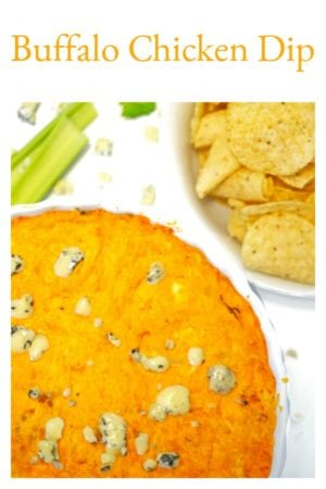 This Buffalo Chicken Wing Dip is an easy and addictive party food that's perfect for tailgating, baby showers, pot lucks and family reunions. Make this easy dip of Buffalo chicken in abougt 40 minutes!