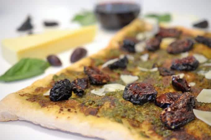 Pesto Pizza and Sun-Dried Tomato with Asiago Cheese