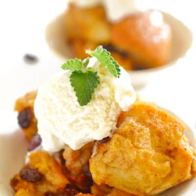 Slow Cooker Bread pudding from Platter Talk food Blog.
