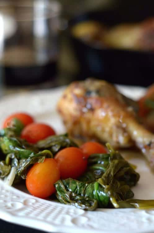 a plate of roasted spinach
