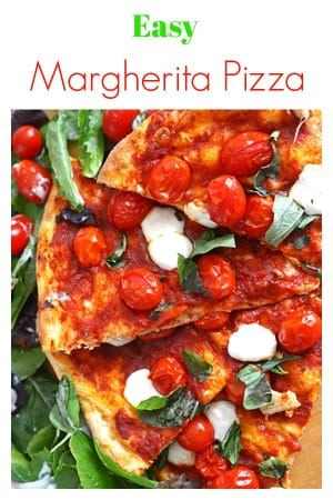 This easy Margherita pizza recipe features a store-bought fresh dough and roasted cherry tomatoes, making it fast, easy and deliciously wonderful. If you've ever wondered how to make Margherita pizza, grab this short list of homemade pizza ingredients and turn oven on!