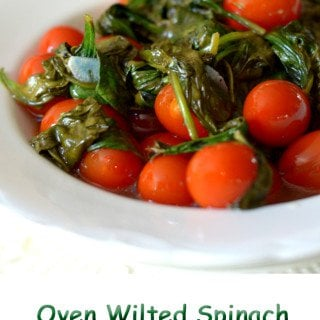 Oven Wilted Spinach with Roasted Cherry Tomatoes