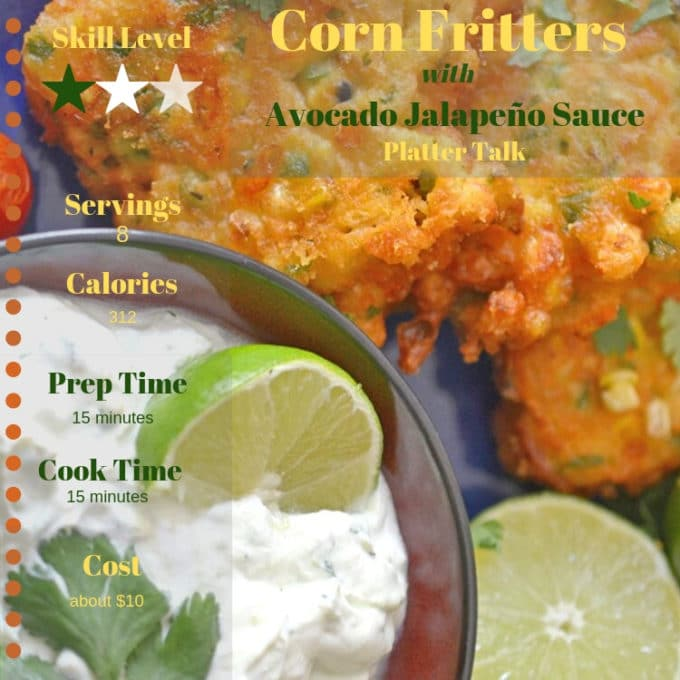 photo of corn fritters with recipe information