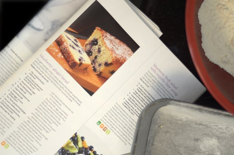 Magazine page showing a blueberry bread recipe.