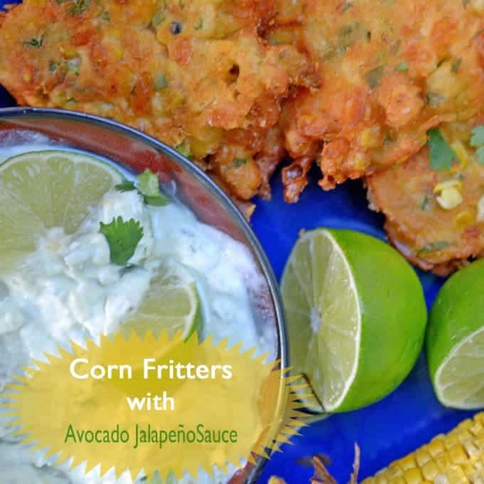 Corn Fritters with Avocado Jalapeño Sauce