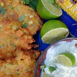 Corn Fritters with Avocado Jalapeño Sauce