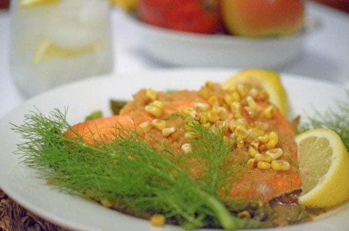 Grilled sockeye salmon with fennel from.