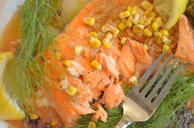 Sockeye salmon with lemon, corn, and fennel.