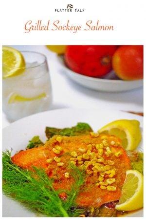 A plate of food, with Sockeye salmon