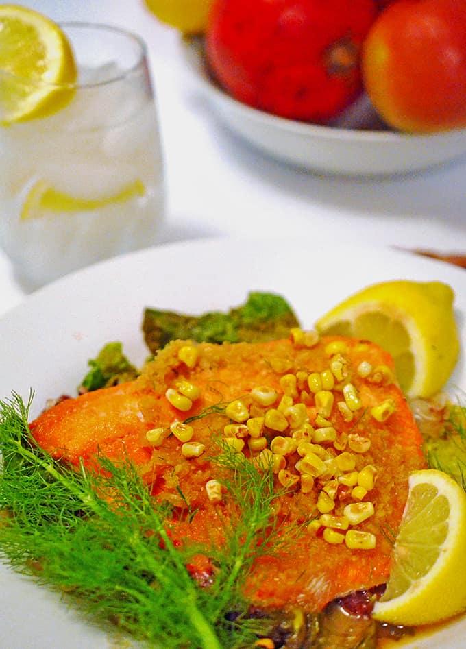 Sockeye Salmon Recipe with corn and fennel.